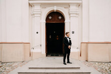 Caucasian Groom Waiting For A Bride In Front Of The Church
