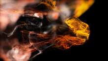 Injection Of Fiery Fluorescent Ink In Water Isolated On Black Background. 3d Render Of Glow Particles As Fantastic Background Of Shiny Ink Effect Advection With Depth Of Field.
