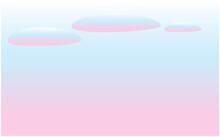 青からピンクに変化する空。夕焼け、雲のベクターイラスト