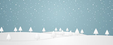 Christmas Time, Winter Landscape With Trees On Hill And Snowfall In Paper Art Style