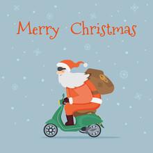 Christmas Holiday Greeting Card. Santa Claus With Backpack Rides Vintage Green Motor Scooter. Vector Cartoon Flat Illustration