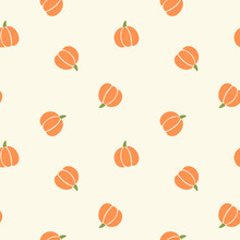 All Over Halloween Seamless Vector Repeat Pattern With Tossed Orange And Green Pumpkin Silhouettes On Cream Background. Simple And Sophisticated 4 Way Harvest Thanksgiving Backdrop