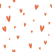 Vector Seamless Pattern With Cute Red Hearts