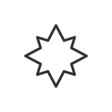 Star Line Icon In Trendy Style.