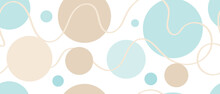 Colored Background With Circles And Circles And Smooth Lines, Flat Cartoon Drawing Seamless. Contemporary Design For Fabric, Packaging And Wallpaper.