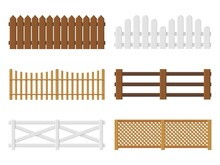 Wooden Fences. Flat Farm Barriers And Border Walls. Country Planks Fencing Templates. Different Types Yard Railings. Ranch Enclosures. Garden Protection Elements. Vector Boundaries Set