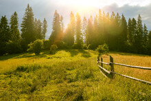 Wooden Fence And Countryside Road In Ukraine Village On Carpathians Mountain, Europa