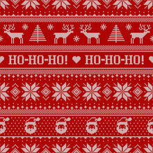 Scandinavian Knitted Seamless Pattern With Santa Clauses And Deers.