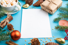 Christmas Or New Year Composition, Template. Decorations, Cones, Fir And Spruce Branches, Cup Of Coffee, On A Blue Background. Side View, Copy Space.