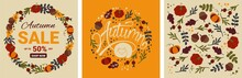 Set Of Autumn Designs With Falling Leaves, Pumpkins And Lettering. Vector Illustration With Special Offer Typography Elements For Coupon, Voucher, Banner, Flyer, Ad Poster Or Postcard.