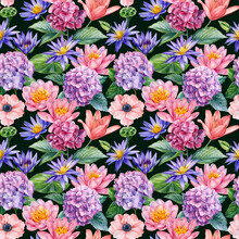 Botanical Pattern. Hand Drawn Watercolor Seamless Pattern With Flowers. Hydrangea, Lily, Anemone And Buttercups