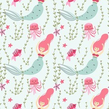 Cartoon Mermaid Seamless Pattern. Cute Little Underwater Character, Princess With Fish Tail, Fantasy Creature, Kids Fairy Tale Girl. Decor Textile, Wrapping Paper Wallpaper, Vector Print Or Fabric