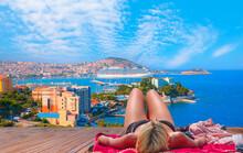 Blondie Girl Relax On The Beach -  Cruise Ships At Port Of Kusadasi - Aydin, Turkey