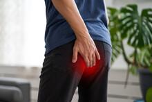 Hemorrhoidal Pain, Man Suffering From Hemorrhoids