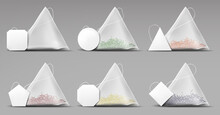 Tea Pyramid Bags Set Isolated On Grey Background