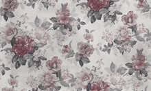 Seamless Pattern With Pink Flowers And Leaves. Floral Pattern For Wallpaper Or Fabric. Background Old Concrete Wall Texture.