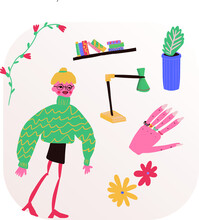 Vector Cocky Clip Art With Cocky Blonde Girl With Some Of Their Stuff Like Flowers, Glasses, Ring, Lamp And Books