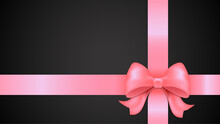 Pink Bow On A Black Background, Pink Bow With Ribbon, Pink Ribbon With Bow, Gift Box, Bow On Gift