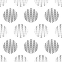 Seamless Abstract Pattern Blue Wavy Circles On White Background.