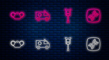 Set Line Ambulance Car, Crutch Or Crutches, Medical Protective Mask And DNA Symbol. Glowing Neon Icon On Brick Wall. Vector