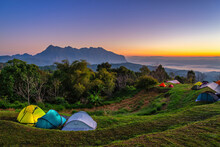Tropical Forest Nature Landscape View With Mountain Range Sunrise At Doi Chiang Dao, Chiang Mai Thailand