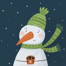 Snowman In A Green Hat And Scarf With A Mug Of Tea, Coffee, Grog, Mulled Wine. Winter Concept Art.