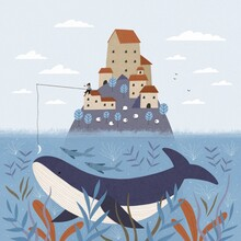 Blue Whale Under An Island With Houses A Fisherman Catches A Fish Sheep Graze In A Meadow.