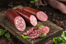 A Set Of Grainy Sausage Made Of Horse Meat And Chicken
