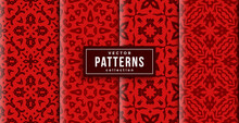 Pattern Ornament Style Red Colors Set Of Four. Seamless Background Ready To Print