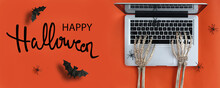 Happy Halloween Banner With Ghost Hand Working With Laptop