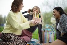 Young Women Friends Celebrating Birthday With Cake In Park
