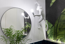 Toilet With A Monkey Style Lamp And Green Plants