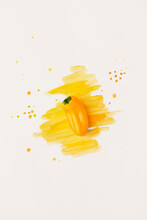 Yellow Bell Pepper On White Background With Watercolor Spots