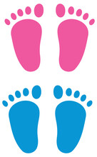 Baby Foot Gender Reveal Clipart Set - Pink And Blue
