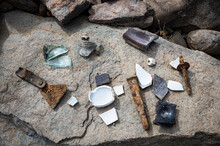 Recovered Artifacts In The Pioneer Town Of Red Bank, California. Ruins From The Town Were Uncovered In Folsom Lake Due The State's Current Drought Conditions.
