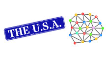Low-poly Mesh Constructed With Chaotic Filled Triangles, And Grunge The U.S.A. Seal Stamp. Blue Rounded Framed Rectangle Stamp Includes The U.S.A. Text Inside Framed Rectangle Shape.