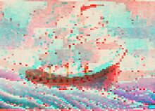 Ship On Wavy Glitch Sea
