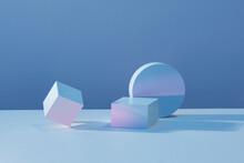 Solid Display Block For Shop Windows On Light Blue Background