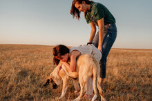 Young Family Enjoying With Their Dog At Field
