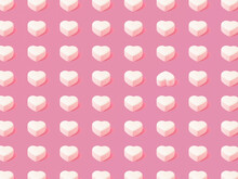 Trendy Pink Pattern Made Of White Heart, With One Different Position. Pink Background. Minimal Concept. Romantic And Love Ideas.