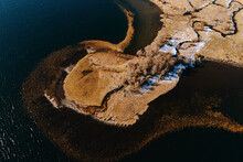Aerial View Of A Lake Shore