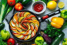 Uncooked Ratatouille Arranged With Vegetables
