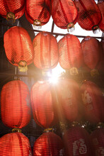 Red Chinese Lanterns In The Sun