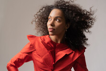 Photoshoot Of A Young Black Model In Red Dress