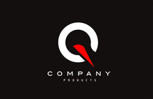 Q Red Alphabet Letter Logo Icon With Black Colour. Creative Design For Business And Company