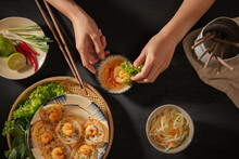 Plate Of Delicious Vietnamese Tiny Shrimp Pancakes- Banh Khot