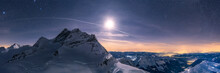 Moonlight Panorama In The Alps