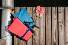 Life Vests And Flip-flops On A Pontoon