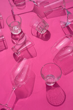 Goblets And Shots Scattered On Table