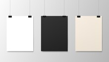 Hanging Paper Posters Mockups, Vector Realistic Sheets Of Paper On Strings. Photo Gallery Posters On Wall, Blank White And Black Board Frames Hanging On Binder Clips, Exhibition Picture Canvas